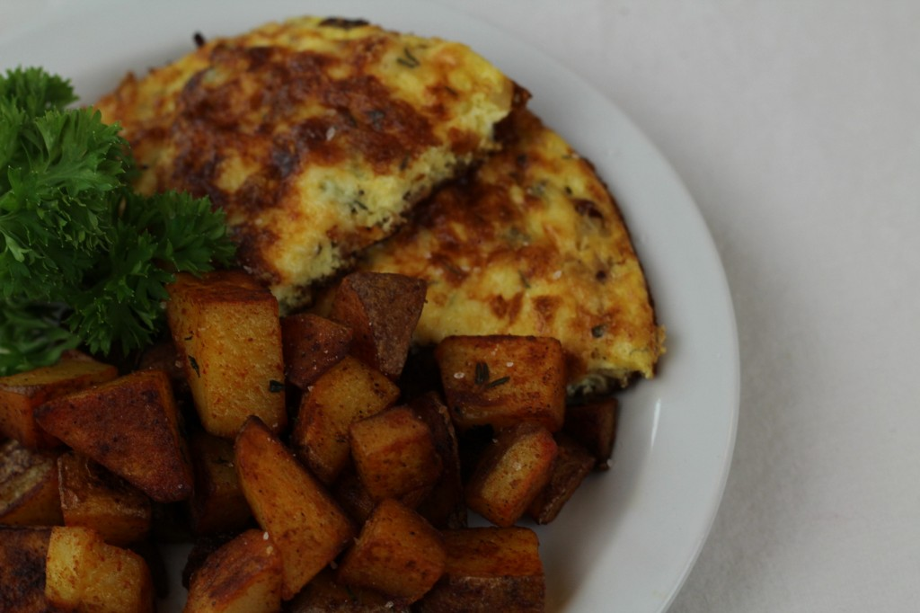 bacon, thyme & asiago frittata, home fries with pimentón