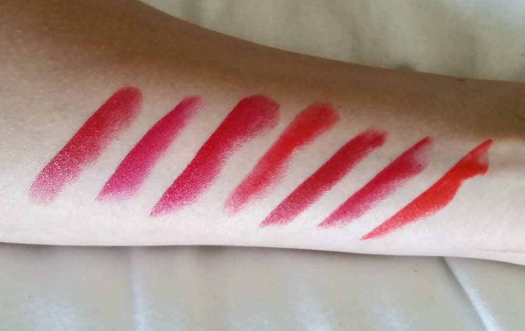 red lipstick swatches