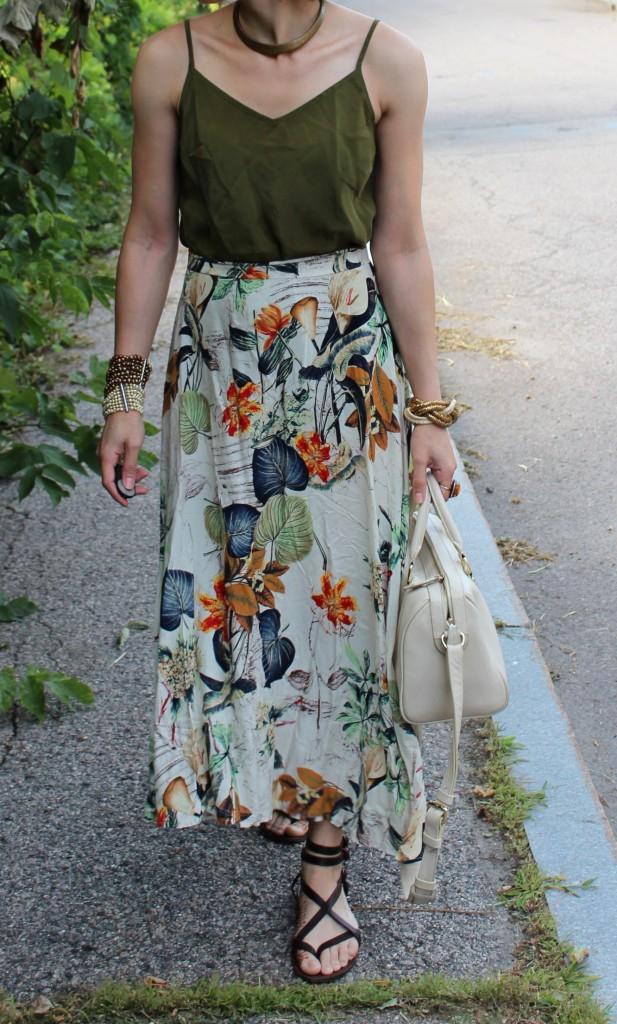 floral print olive summer skirt