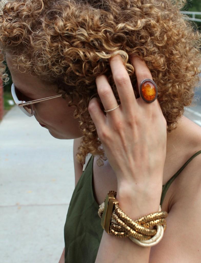 Kara Ross bracelet, amber ring
