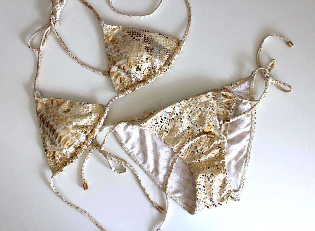 gold python print bikini